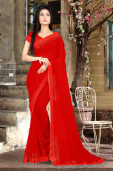 Riva Enterprise Women's Georgette Hot Flix Border Work Red Color Saree