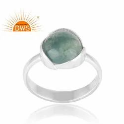 Genuine Green Moss Agate Sterling Silver Stacking Ring Jewelry