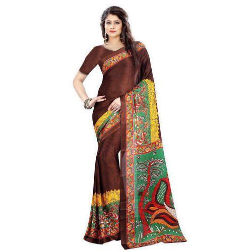 Silk Party Wear Bhagalpuri Printed Saree, Machine Made, 6.3 m (with blouse piece)