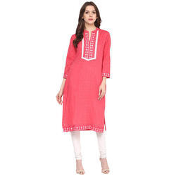 Cotton Pink 3/4th Sleeve Embroidered Kurti, Size: XL