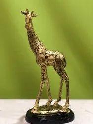 Polyresin Golden Giraffe Statue for Interior Decor