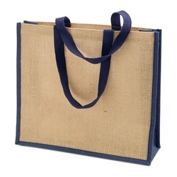 Brown And Blue Plain Jute Tote Bags