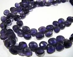 Natural Amethyst Heart Shape Briolette Faceted Beads Size 9-10 mm Strand 10 Inches