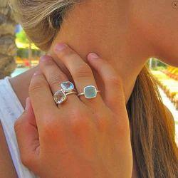 Gold Plated Bezel Setting Gemstone Women Rings