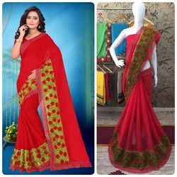 Red Color Chiffon Multi Work Designer Border Saree With Blouse