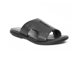 Genuine Leather Black Casual Slippers For Men