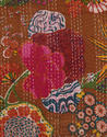 Prune Red and Pink Kantha Work Fruit Printed Bed Spreads