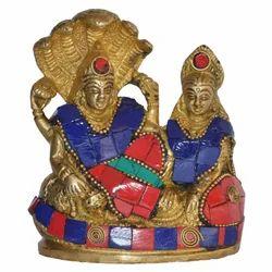 Brass Vishnu Laxmi Statue With Stone Work