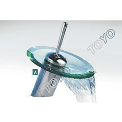 Round Glass Waterfall Basin Mixer