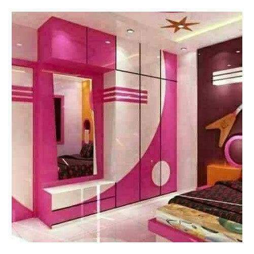 Pink White Decorative Wooden Wardrobe Rs 70000 Set