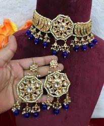 Goodquality Golden Kundan Meena Polki Blue Pendant Set