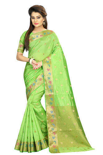 Clothing, Shoes & Accessories Friendly Kanjivaram Silk Women Saree With Blouse Piece,light Blue South Indian Look Other Women's Clothing