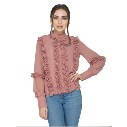 Casual Top Dusty Pink Ruffle Top