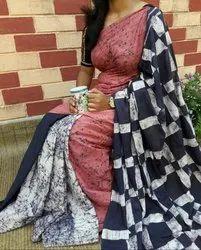 Bagru Hand Print Cotton Mulmul Saree