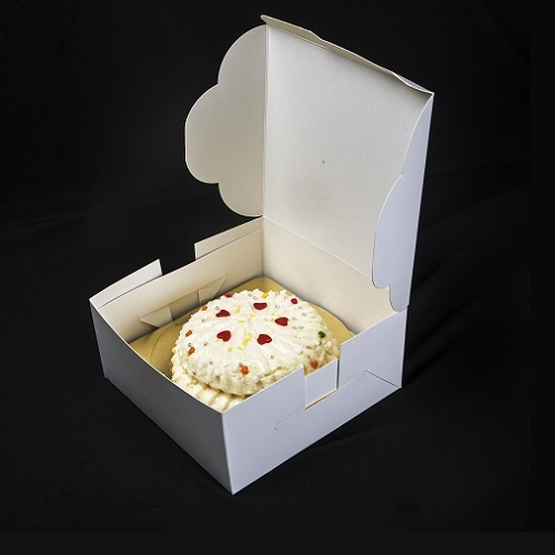 Cake Boxes - 11K One Kg Kraft Cake Box with Scallop Window