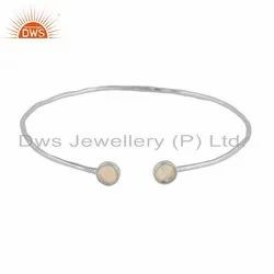 925 Sterling Fine Silver Ethiopian Opal Gemstone Designer Bangle