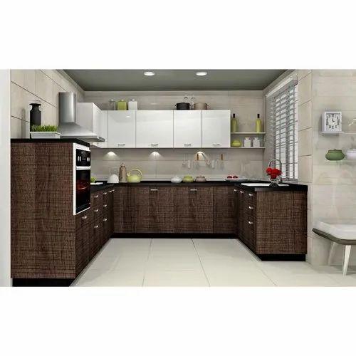 Sleek World PVC Italian U Shaped Modern Kitchen, Kitchen Cabinets