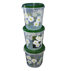 Floral Print Container Set, Capacity: 2 Kg