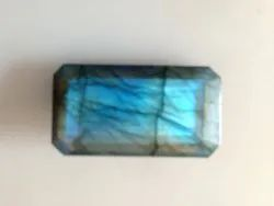 Bi Colour Fire Natural Labradorite Big Size Faceted Octagon  Shape Cut Stone Free Size