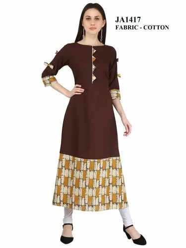 Brown Stitched A-Line Cotton Printed Kurti