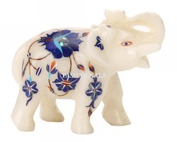 Animal Figure White Marble Elephant with Inlay Work, for Exterior Decor