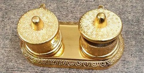 Golden Traditional Gold plated Haldi kumkum boxes, For Pooja