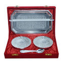 Silver Plated 4 Stylish Bowl Serving Set With Tray