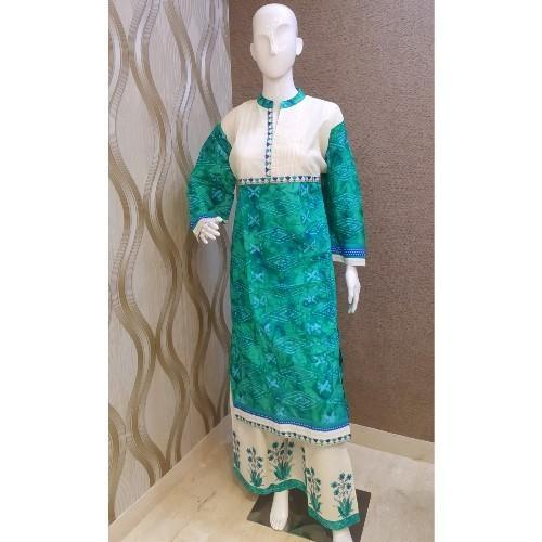 Regular Wear Cotton Embroidered Palazzo Dress