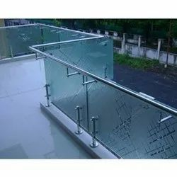 Terrace Transparent Etching Glass Railing for Home