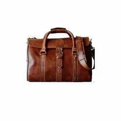 Plain Brown Mens Leather Shoulder Messenger Bag