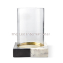 Tli Natural Decorative Glass Hurricane Candle Holder With Marble Base