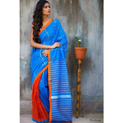 Party Wear Blue And Red Khadi Kantha cotton saree, Hand Made, 5.5 m (separate blouse piece)