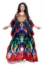 Women Digital Printed Satin Silk Kaftan