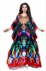 Women Digital Printed Satin Silk Kaftan
