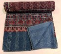 Vintage Indian Kantha Quilt, Handmade Bedspread, Hand Block Ajrak Print