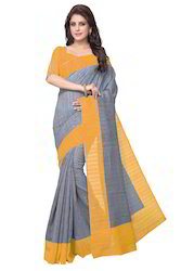 Mirchi Fashion Grey N Yellow Bhagalpuri Silk Casual Saree