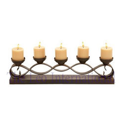 Decorative Metal and Wood Candle Holder