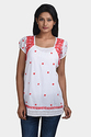 Red Lucknowi Chikankari Aster Top