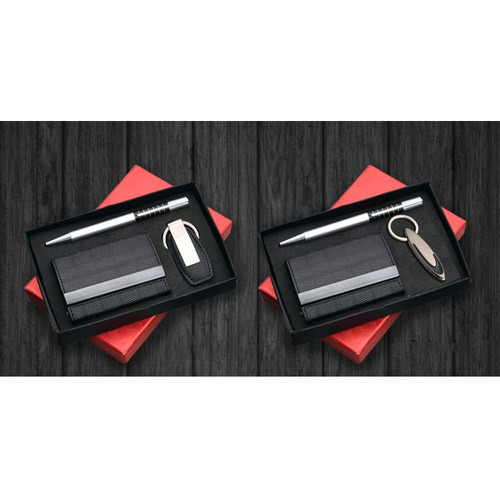 Corporate Gift Set - Metal Pen Card Holder and Key Chain Set