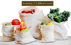 100% GOTS Muslin Fabric Bags - Reusable Bag