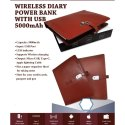 Leather Wireless Diary With Power Bank (With Usb) 5000 Mah