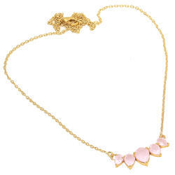 Rose Chalcedony Hot Style New Design Micron Gold Plated Gemstone Necklace Pendant