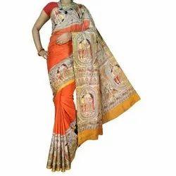 Party wear 6.5 Meter Printed Bhagalpuri Saree