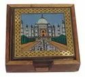 Wooden Gemstone Painting Tea Coaster With Brass Carving