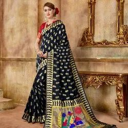 Black Fancy Silk Saree