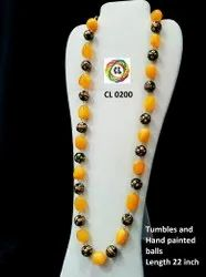 CL Jewellery Semi Precious Natural Tumble Stone Handpainted Beads Customized Necklace Set