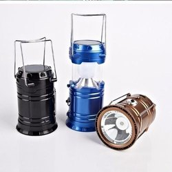 Portable 2 In 1 Solar Rechargeable Collapsible LED Camping Lantern Flashlight Lamp with USB Port, Sm