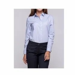 Full Sleeve Polyester Cotton Ladies Formal Shirt, Packaging Type: Packet