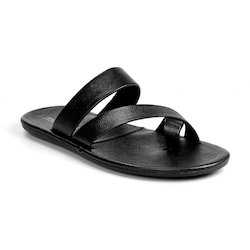 Molessi Mens Leather Black Slippers