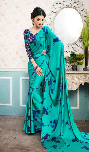 cheapest wide selection value for money Digital Printed Saree With Embroidered Blouse